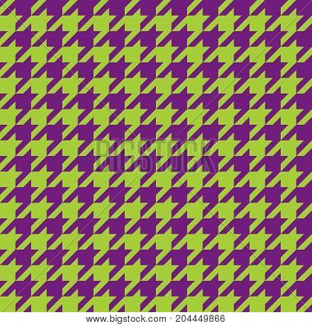 Seamless green and purple houndstooth pattern. Vector image.
