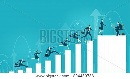 Business people running and jumping up towards the best career. Concept illustration