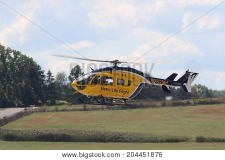 AKRON USA - SEPT 9: A Metro Life Flight Eurocopter MBB-BK 117 C-2 helicopter at Props ans Pistons Airshow taking place at the Akron Fulton International Airport
