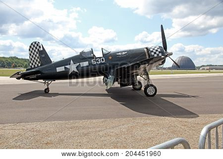AKRON USA - SEPT 9: Goodyear FG-1D Corsair at Props and Pistons Airshow taking place at the Akron Fulton International Airport