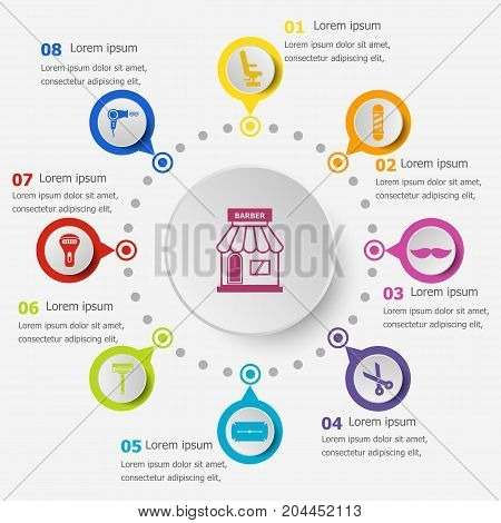 Infographic template with barber icons, stock vector