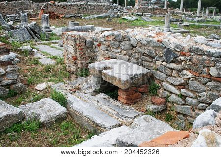 Ruins fro the Bishop's Castle area of the Philippi Archaeological site. Philippi was visited by Paul and Silas in Acts 16 during his missionary journey.
