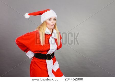 Dissatisfied Woman Wearing Santa Claus Helper Costume