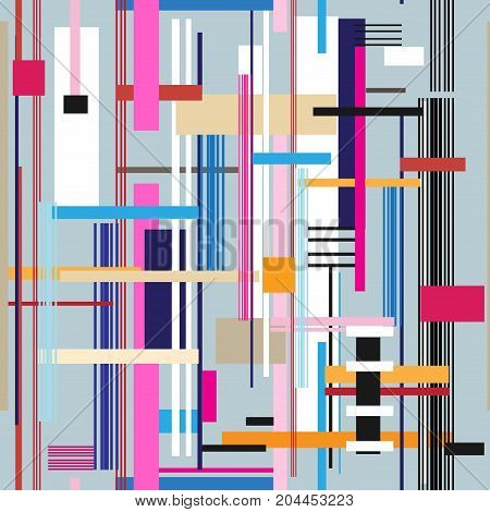 Geometric multicolored pattern from different stripes and rectangles
