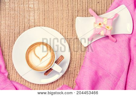 Cup Of Coffee With Latte Art. Leasure Time Concept. Pastel Colors