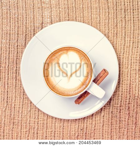 Cup Of Coffee Or Chai Tea With Latte Art. Leasure Time Concept. Pastel Colors