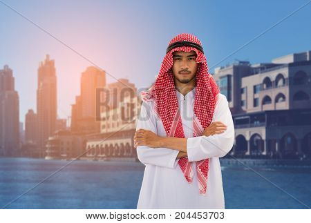 Arabian Man, Businessman On City Background