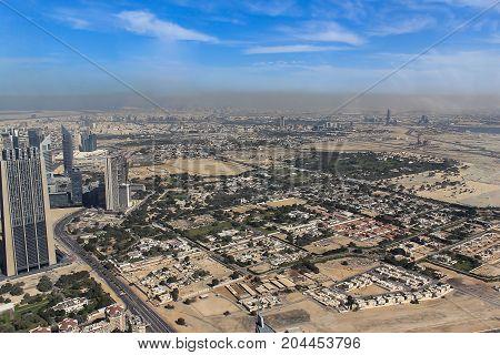 Image top view of Dubai city from Burj Dubai towerCity business of united arab emirates