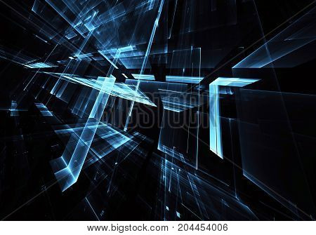 Computer generated abstract technology image. Three-dimensional fractal texture, illustration