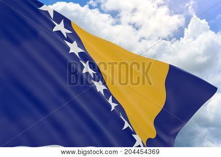3D Rendering Of Bosnia And Herzegovina Flag Waving On Blue Sky Background