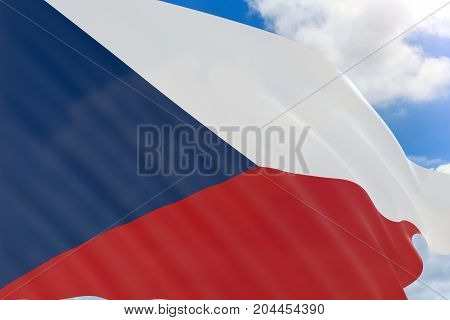 3D Rendering Of Czech Republic Flag Waving On Blue Sky Background