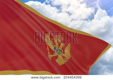3D Rendering Of Montenegro Flag Waving On Blue Sky Background