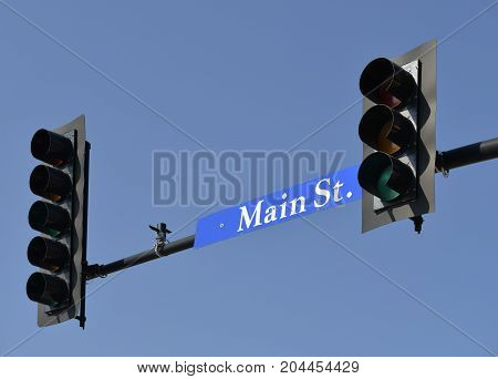 traffic lights on main street any town USA