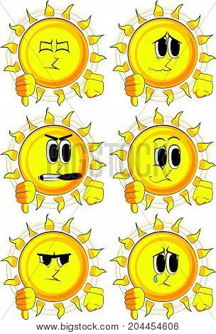Cartoon sun showing dislike hand sign. Collection with sad faces. Expressions vector set.