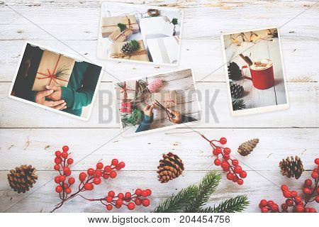 Photo album in remembrance and nostalgia in Christmas (winter season) on wood table. photo of retro camera - vintage and retro style topview