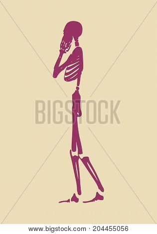 Confused human skeleton. Vector illustration. Halloween party design template