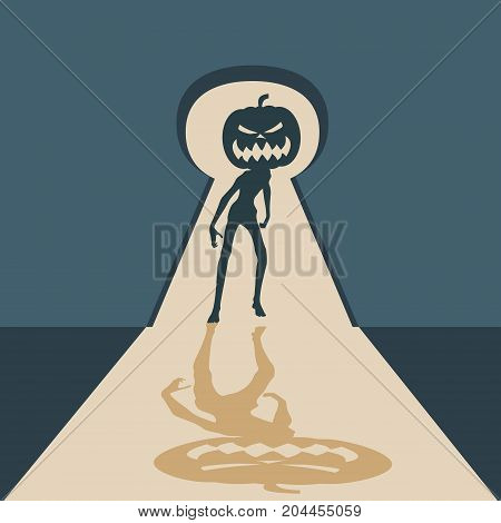 Zombie with pumpkin head silhouette comes into the house through keyhole. Shadows in dark room. Halloween theme background.