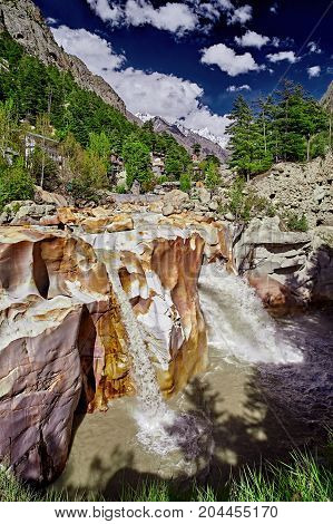Waterfall Of Ganges River Flows Across The Gangotri Town. Uttarakhand. India.