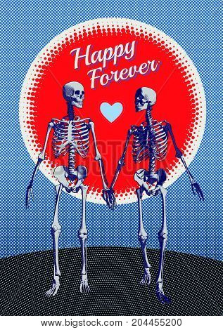 A couple of engraving skeleton in holding hand action illustration on blue color tone with red moon half tone space background