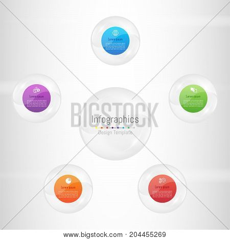 Infographic design elements for your business data with 5 options parts steps timelines or processes. Transparent glass sphere concept Vector Illustration.