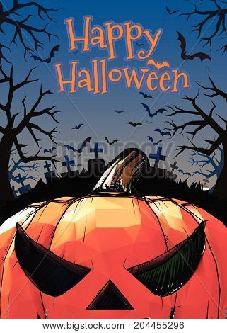 Jack o lantern at foreground with cartoony style in the darkness grave background for halloween greeting in colorful artwork