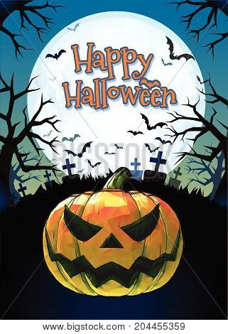 Jack o lantern glowing at foreground with cartoony style in the darkness graveyard background for halloween greeting on colorful artwork