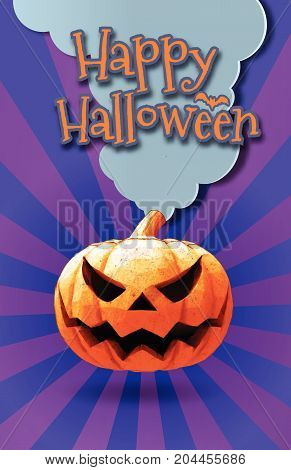 Happy halloween greeting card with Jack o lantern on purple shinning background