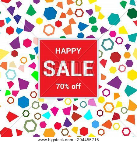Sale Template, Discount Banner On Bright Colorful Background, Random, Chaotic, Scattered Geometric E