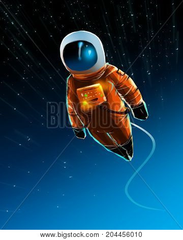 Astronaut in outer space and cable attached from space station Starfield background digital illustration painting Sci-fi concept.