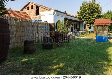 POMORIE BULGARIA - AUGUST 18 2017: Territory of the Orthodox Monastery of St. George.