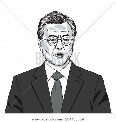 Moon Jae-in the President of South Korea. Vector Illustration. September 17, 2017