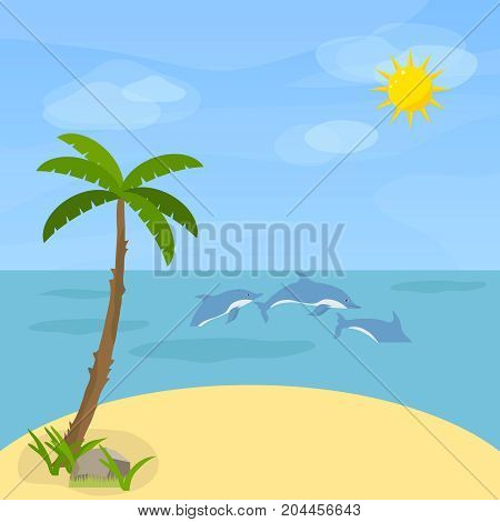 Sea with dolphins. Dolphins swim in the sea against the sky. Flat design vector illustration vector.