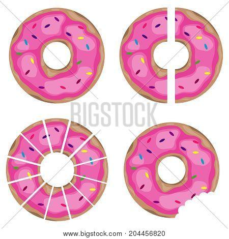 Donut pieces of donuts halved pon. Flat design vector illustration.