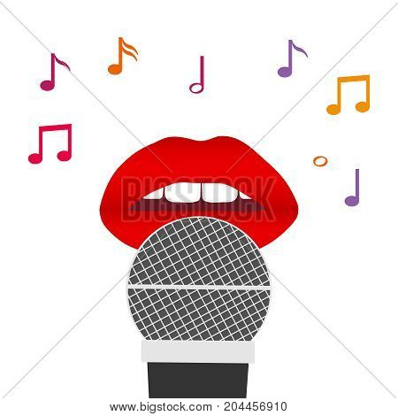 Lips and a microphone red lips with a microphone singing a song. Flat design vector illustration vector.