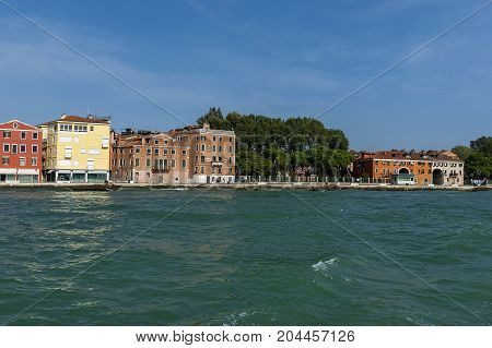 View from the sea at the residential district of waterside in Venezia, Venice, Italy, Europe