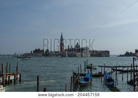 Gondolas on Grand Canal and Basilica Santa Maria della Salute, San Giorgio Maggiore Island, Venezia, Venice, Italy