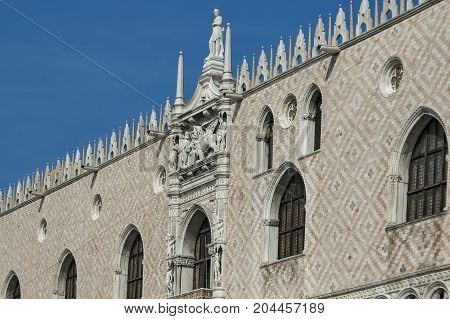 Fragment of  beauty Doge's Palase at San Marco square or piazza, Venezia, Venice, Italy, Europe