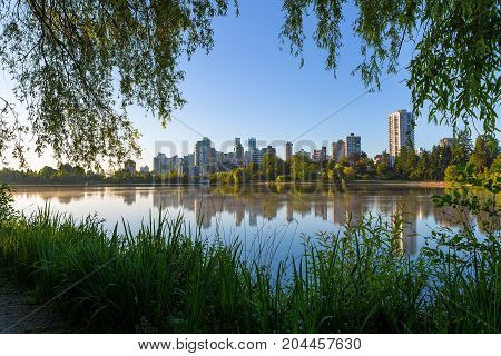 Early morning stroll at Stanley Park in Vancouver British Columbia Canada