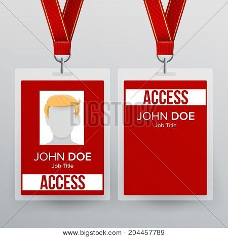 Lanyard Badge Vector. Identity Card For Security To Business Conference Realistic Illustration.