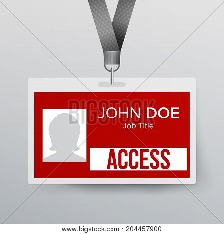 Press Pass Id Card Vector. Plastic Badge Template To Business Conference. Realistic Mock Up Illustration.