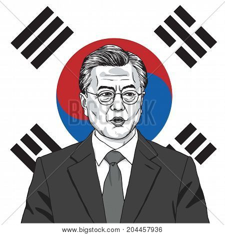 Moon Jae-in the President of South Korea with Flag Background. Vector Illustration. September 17, 2017