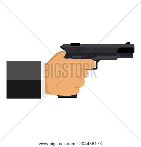 The gun is in his hand. The hand holds the gun. Flat design vector illustration vector.