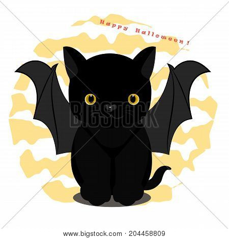 Vector flat illustration. Cute black cat in bat costume. Invitation to a Halloween party.