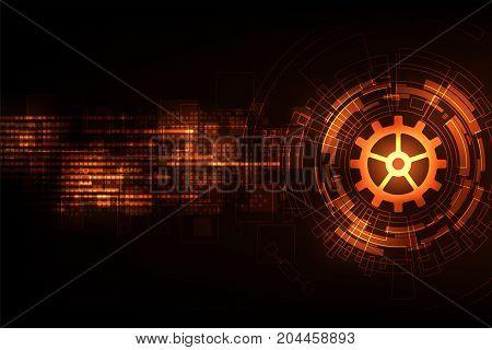 Vector background in technology concept on a dark orange background.