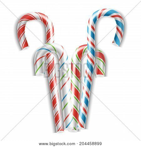 Realistic Candy Cane Vector. Classic Stick Christmas Candy Cane. Set Isolated On White. Top View. Good For Xmas Card And New Year Design. Realistic Illustration