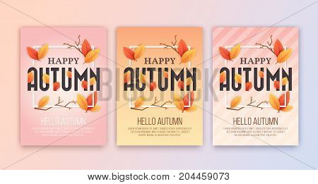 Happy Autumn Season's Greetings Card Background Design. Size 5x7 inches for Print Media. Vector illustration