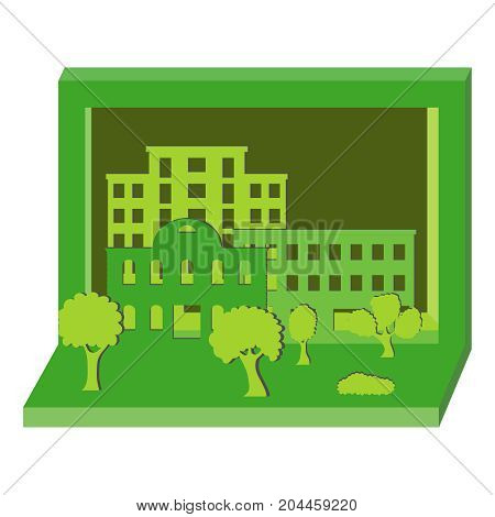 The layout of the house is made of green paper. Flat design vector illustration vector.