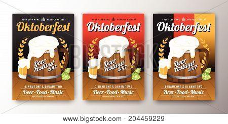 Oktoberfest beer festival advertisement poster template. Oktoberfest background for flyer cover billboard invitation card design. Vector illustration