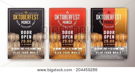 2017 Oktoberfest beer festival advertisement poster template. Oktoberfest background for flyer cover billboard invitation card design. Vector illustration