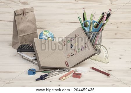 Back To School Template With School Stationery On Table